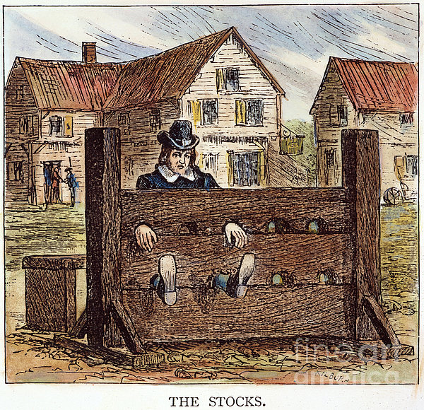 Colonial Stocks Print by Granger