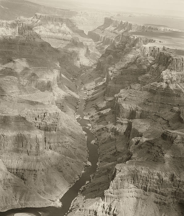 Colorado River And Grand Canyon In Monochrome Print by M K  Miller
