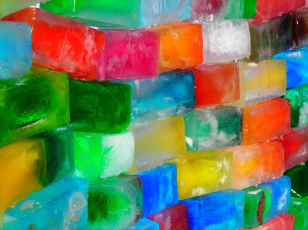 Colored Ice Bricks Print by Juergen Weiss