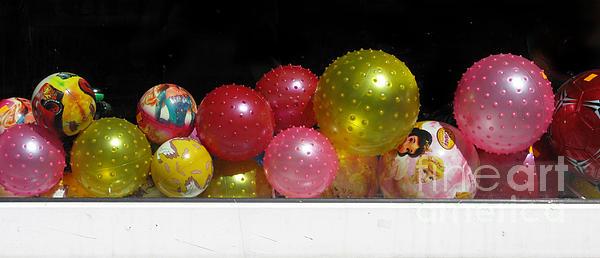 Colorful Balls In The Shop Window Print by Ausra Paulauskaite