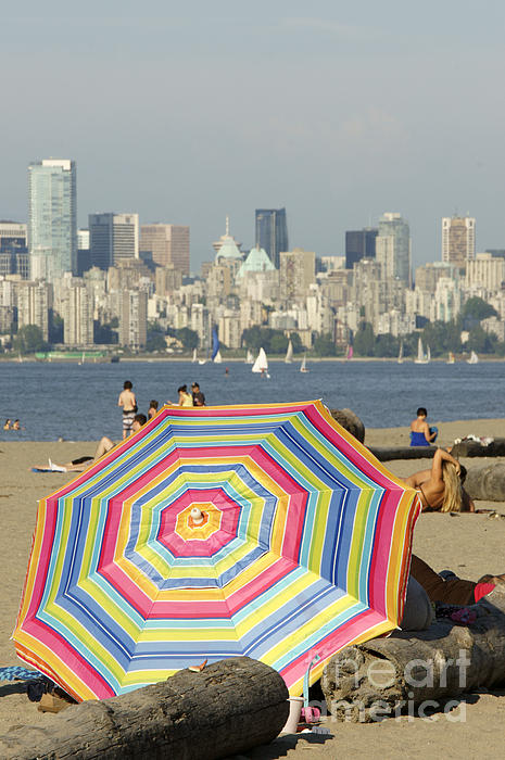 John  Mitchell - COLORFUL BEACH UMBRELLA Vancouver Canada