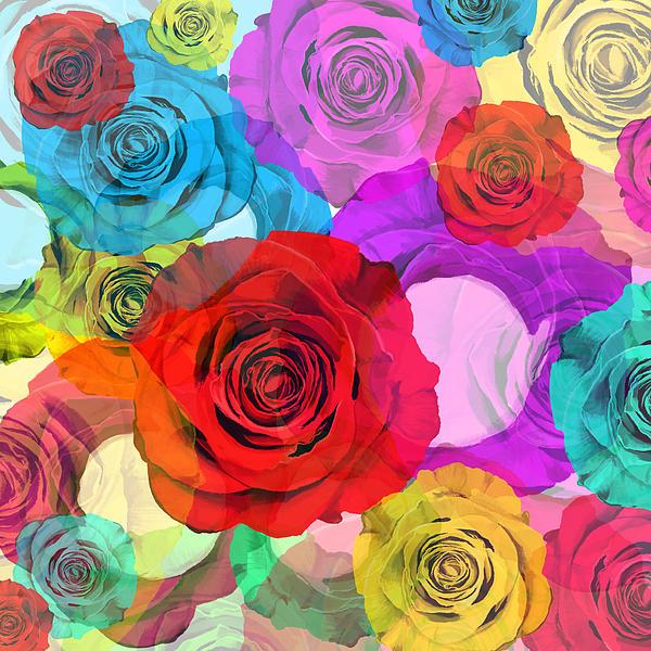 Colorful Floral Design Print by Setsiri Silapasuwanchai