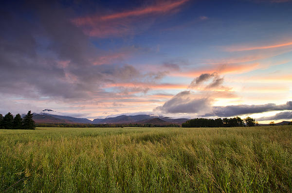 Colorful Sunset Over The High Peaks Wilderness In Adirondack Park - New York Print by Brendan Reals