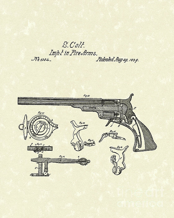 Colt Firearms 1839 Patent Art Print by Prior Art Design