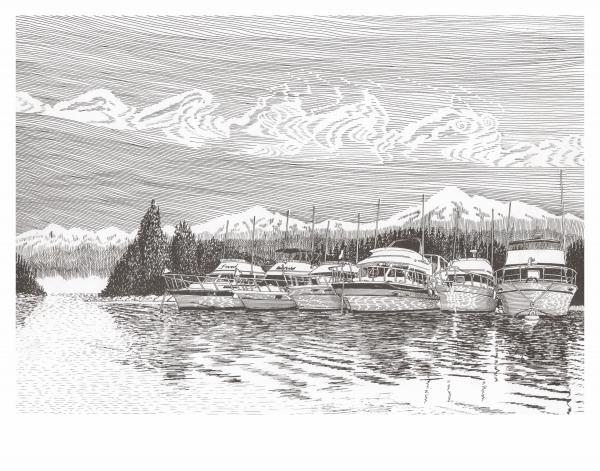 Columbia River Raft Up Print by Jack Pumphrey