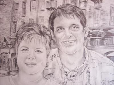 Commissioned Portrait Of Couple Drawing