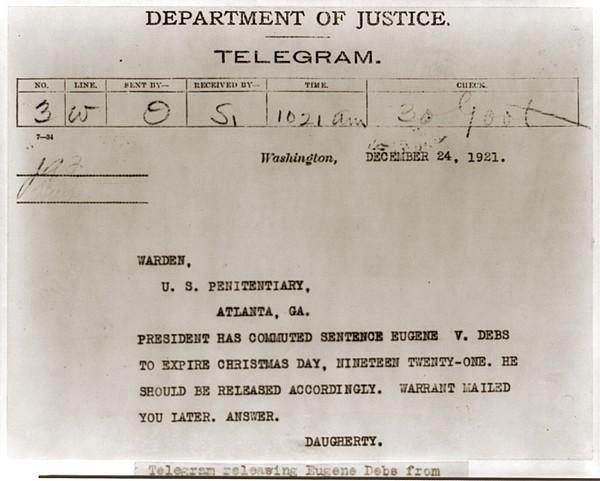 Commutation Of Eugene Debs Jail Print by Everett