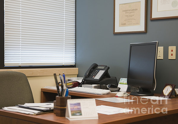 Computer Monitor And Office Space Print by Andersen Ross