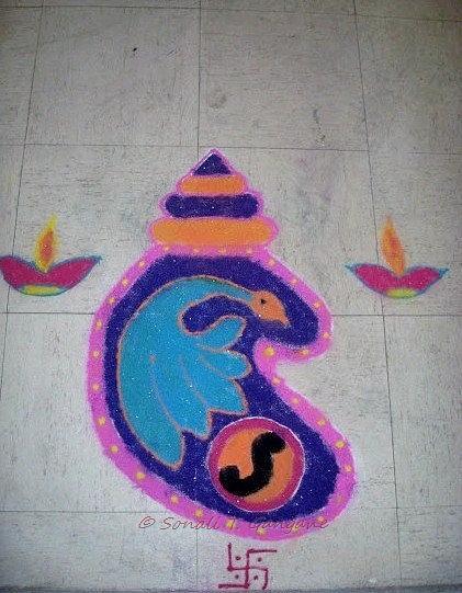Sonali Gangane - Conch Design rangoli