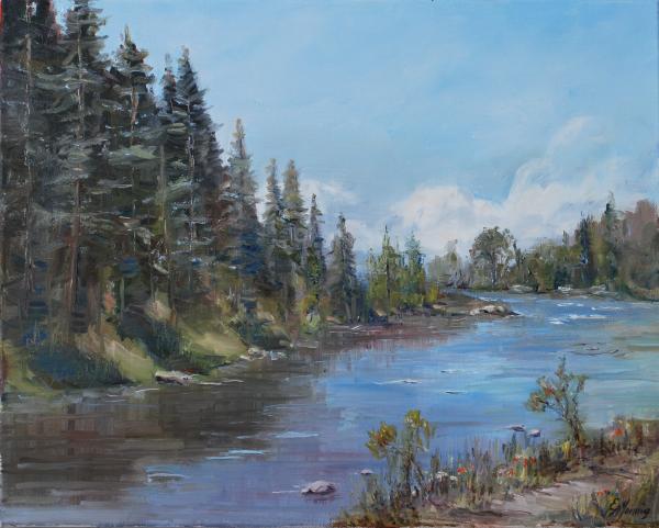 Conejos River Bend Print by Elaine Monnig