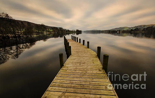 Coniston Water Jetty Print by John D Hare
