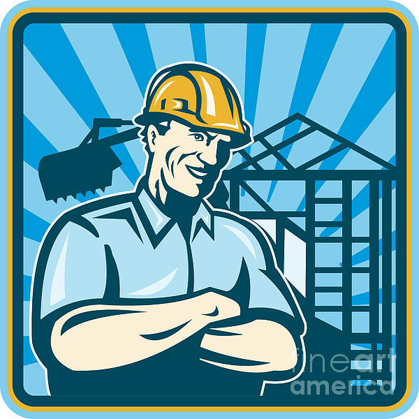 Construction Engineer Foreman Worker Print by Aloysius Patrimonio