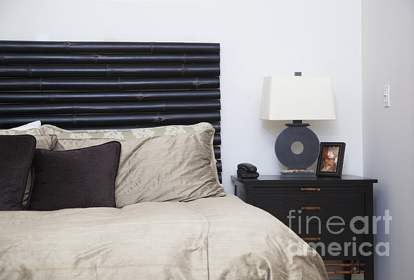 Contemporary Bed And Nightstand Print by Inti St. Clair