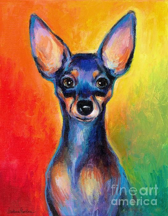 Contemporary Colorful Chihuahua Chiuaua Painting Print by Svetlana Novikova