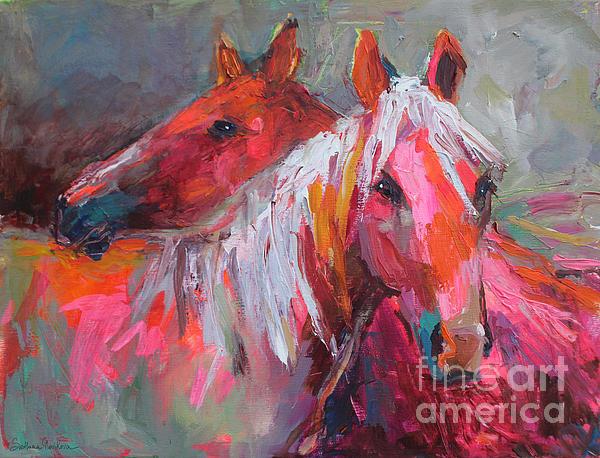 Contemporary Horses Painting Print by Svetlana Novikova