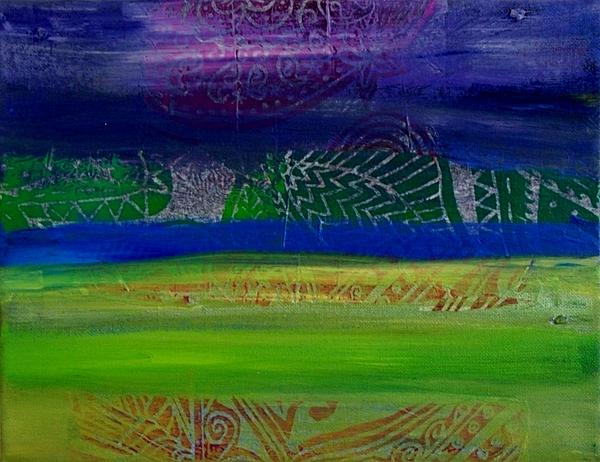 Cool Colors In A Horizontal Rush Print by Samar Asamoah