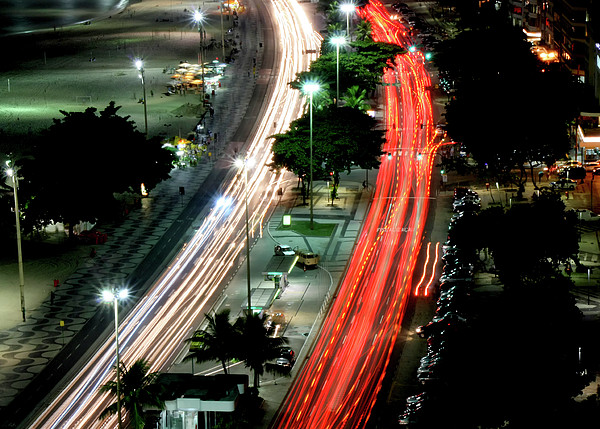 Copacabana At Night Print by Luiz Felipe Castro