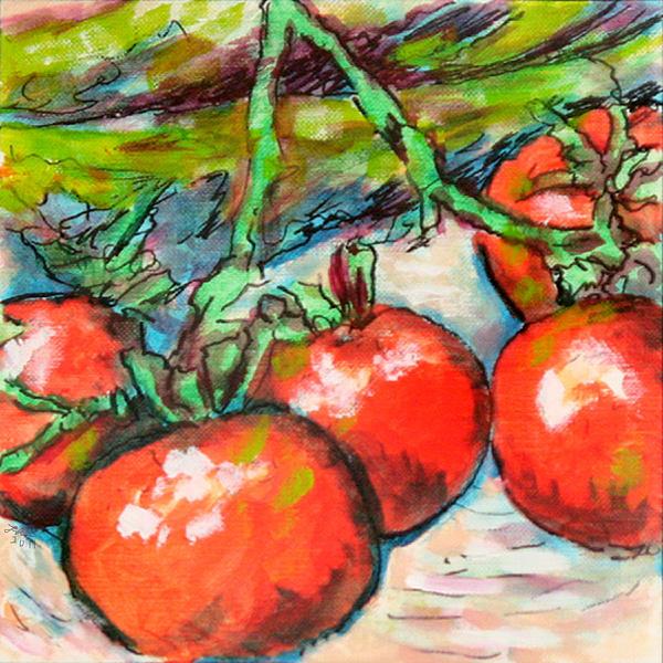 Laura Heggestad - Corn Stalks and Tomatoes