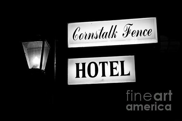 Cornstalk Fence Hotel Print by Leslie Leda