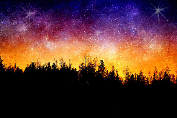 Cosmic Night Print by Ellen Heaverlo