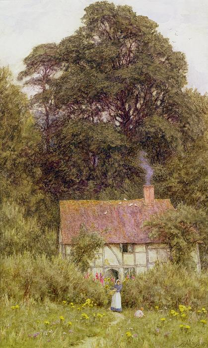 Cottage Near Brook Print by Helen Allingham