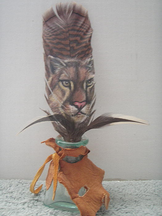 Cougar Painted On Feather Mixed Media