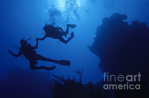 Couple Of Divers Holding Hands Print by Sami Sarkis