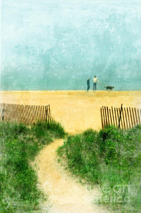 Couple Walking Dog On Beach Print by Jill Battaglia