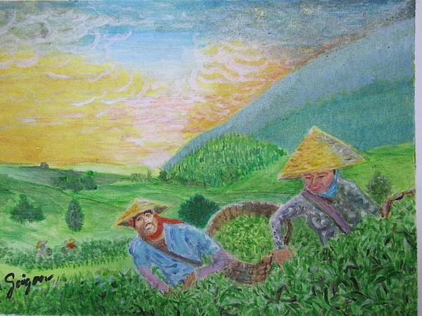 Courtship At The Tea-farm Print by SAIGON De Manila