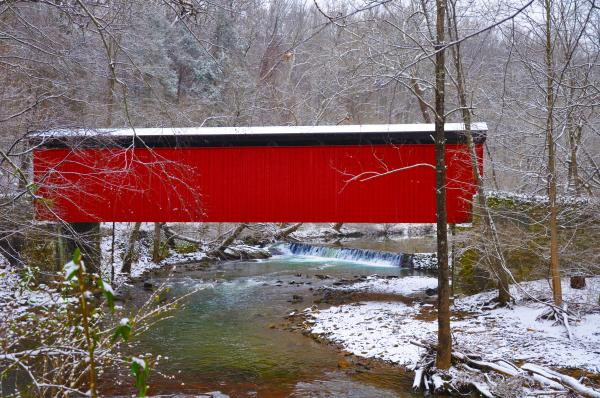 Covered Bridge Along The Wissahickon Creek Print by Bill Cannon