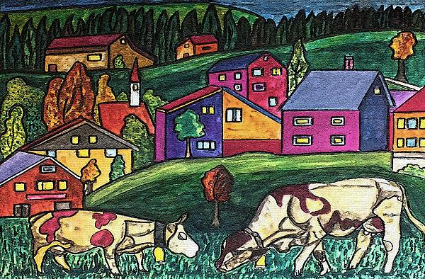 Cow Art Print by Monica Engeler