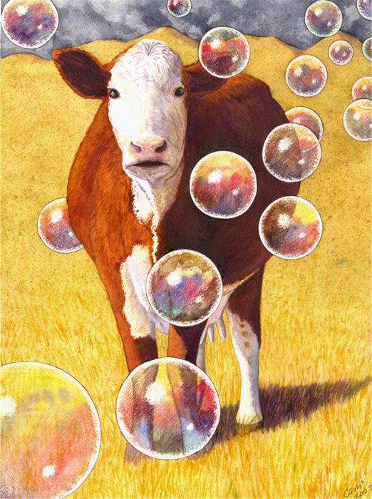 Cow Bubbles Print by Catherine G McElroy