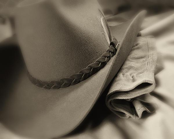 Cowboy Hat And Gloves Print by Tom Mc Nemar