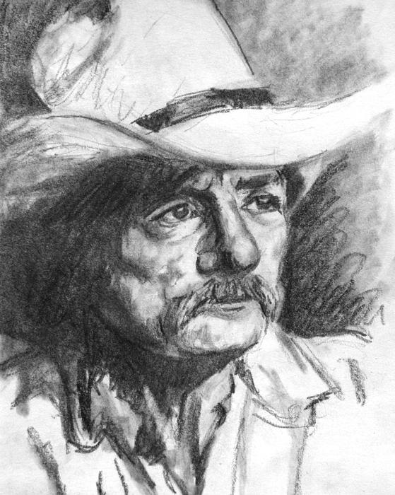 Cowboy In Hat Sketch Print by Kate Sumners