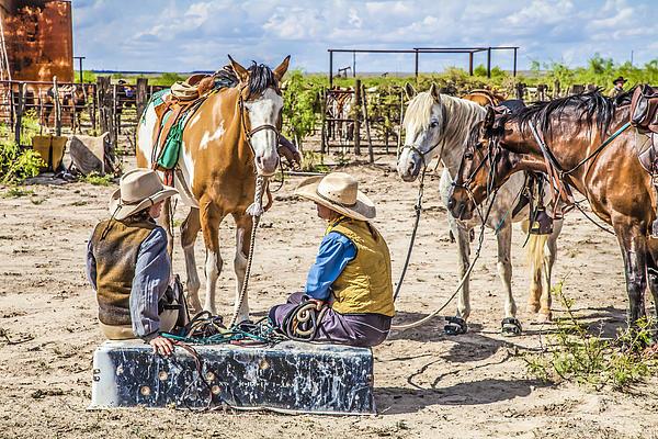 Cowgirls At Rest Print by Ralph Brannan