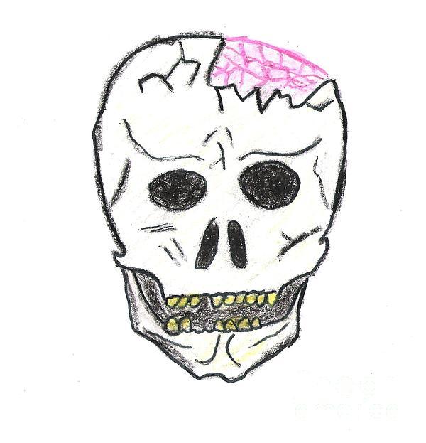 Cracked Skull Print by Jeannie Atwater Jordan Allen