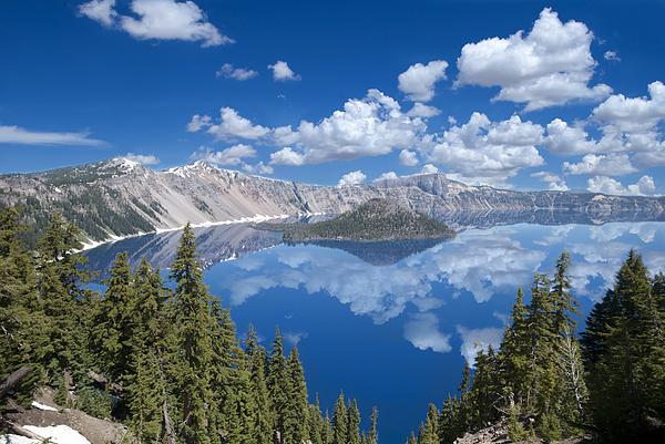 Crater Lake Reflections Print by Loree Johnson