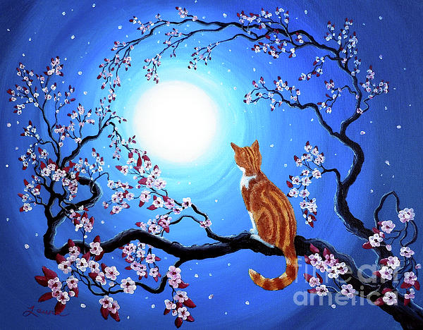 Creamsicle Kitten In Blue Moonlight Print by Laura Iverson