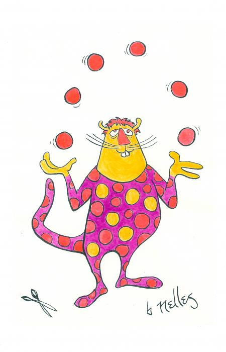 Creature Juggling Polka Dots Print by Barry Nelles Art