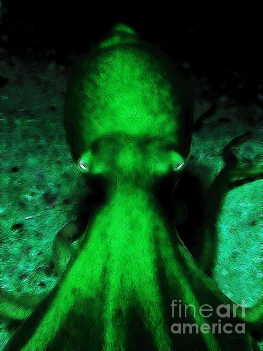 Creatures Of The Deep - The Octopus - V4 - Green Print by Wingsdomain Art and Photography