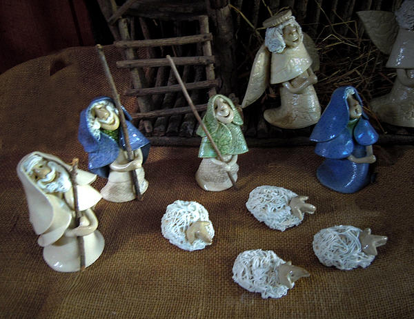 Creche Shepards And Sheep Print by Nancy Griswold