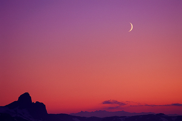 Crescent Moon At Dusk, Garibaldi Park Print by Stockbyte