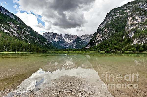 Cristallo Mountains Reflection Dolomites Northern Italy Print by Charles Lupica
