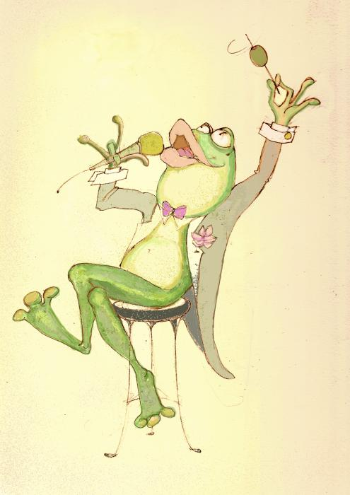 Croaky Karaoke Print by Peggy Wilson