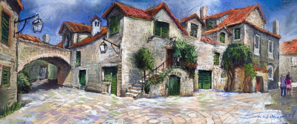 Croatia Dalmacia Square Print by Yuriy  Shevchuk