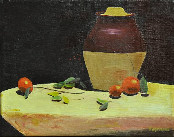 Crock With Fruit Print by Tom Amiss