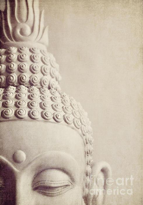 Cropped Stone Buddha Head Statue Print by Lyn Randle