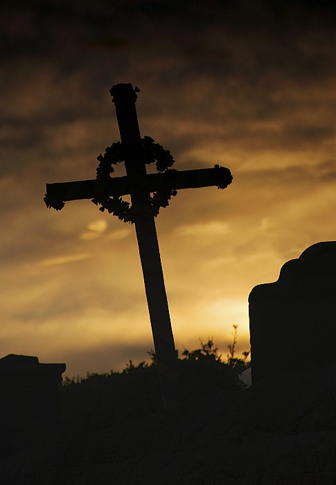 Cross At Sunset Print by John Short