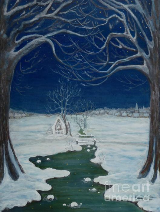 Crossing At The Shrine Print by Anna Folkartanna Maciejewska-Dyba