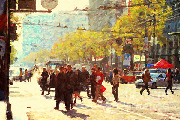 Crossing San Francisco Market Street Print by Wingsdomain Art and Photography